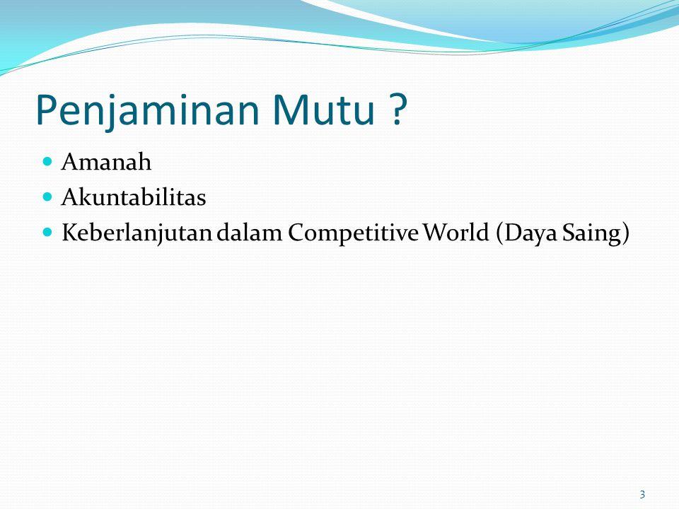 Penjaminan Mutu ? Amanah Akuntabilitas Keberlanjutan dalam Competitive World (Daya Saing) 3