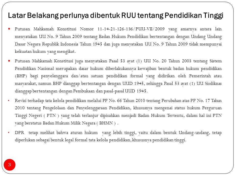 Putusan Mahkamah Konstitusi Nomor 11-14-21-126-136/PUU-VII/2009 yang amarnya antara lain menyatakan UU No. 9 Tahun 2009 tentang Badan Hukum Pendidikan