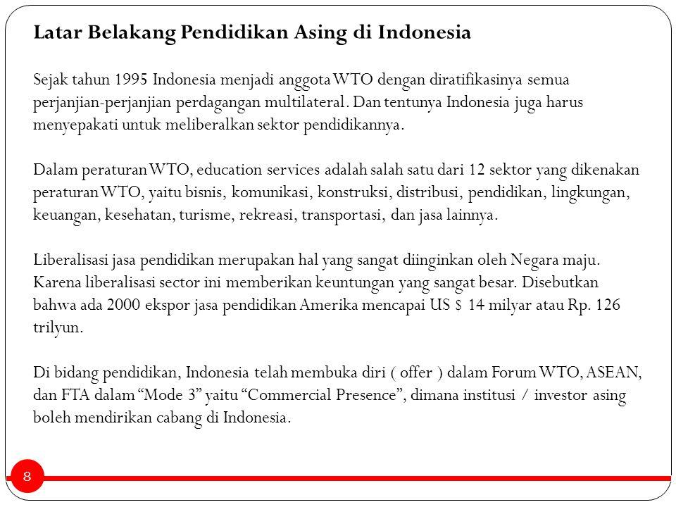 8 Latar Belakang Pendidikan Asing di Indonesia Sejak tahun 1995 Indonesia menjadi anggota WTO dengan diratifikasinya semua perjanjian-perjanjian perda