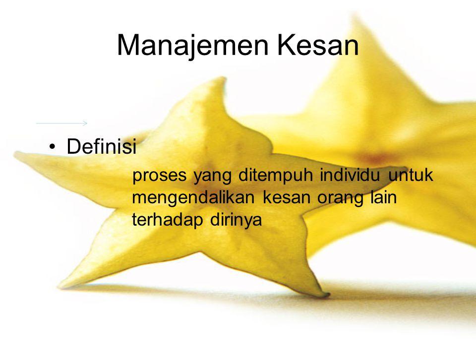 Manajemen Kesan Definisi proses yang ditempuh individu untuk mengendalikan kesan orang lain terhadap dirinya