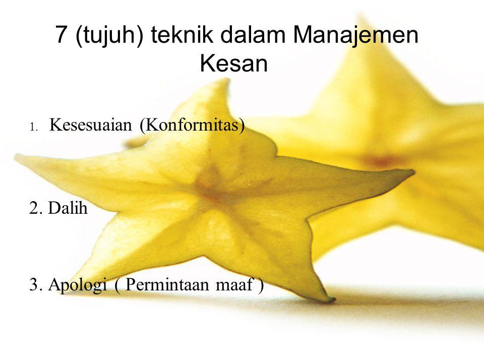 7 (tujuh) teknik dalam Manajemen Kesan 1. Kesesuaian (Konformitas) 2. Dalih 3. Apologi ( Permintaan maaf )