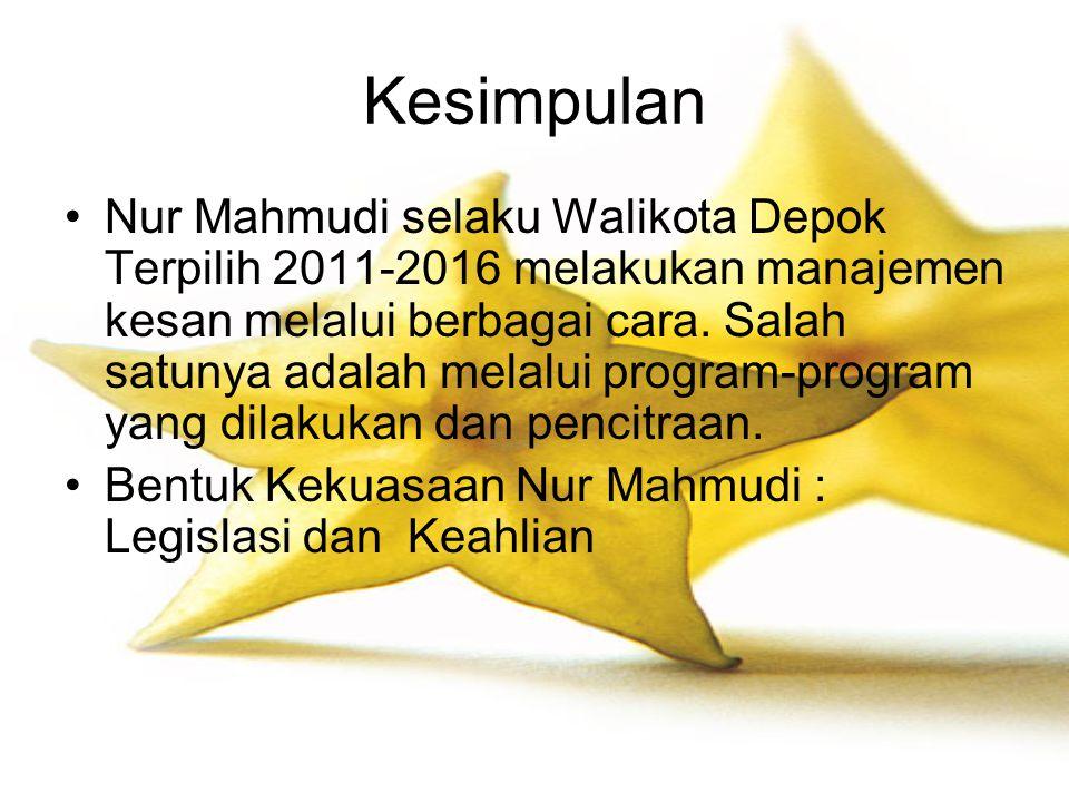 Kesimpulan Nur Mahmudi selaku Walikota Depok Terpilih 2011-2016 melakukan manajemen kesan melalui berbagai cara. Salah satunya adalah melalui program-