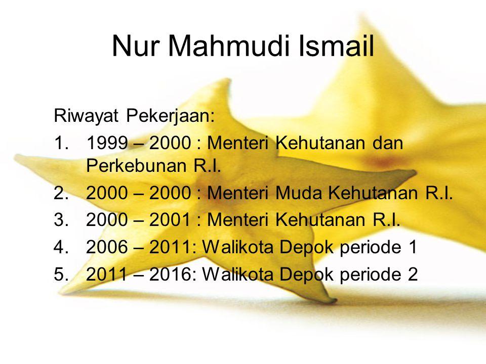 Nur Mahmudi Ismail Riwayat Pekerjaan: 1.1999 – 2000 : Menteri Kehutanan dan Perkebunan R.I. 2.2000 – 2000 : Menteri Muda Kehutanan R.I. 3.2000 – 2001