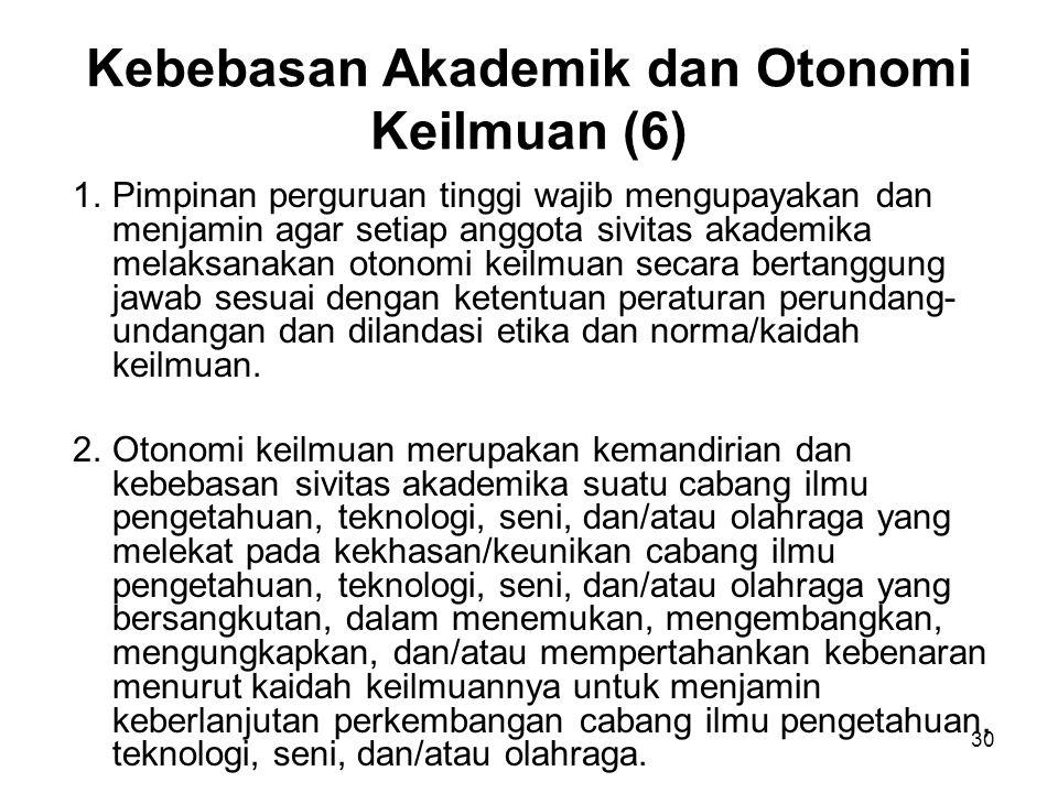 30 Kebebasan Akademik dan Otonomi Keilmuan (6) 1.Pimpinan perguruan tinggi wajib mengupayakan dan menjamin agar setiap anggota sivitas akademika melak