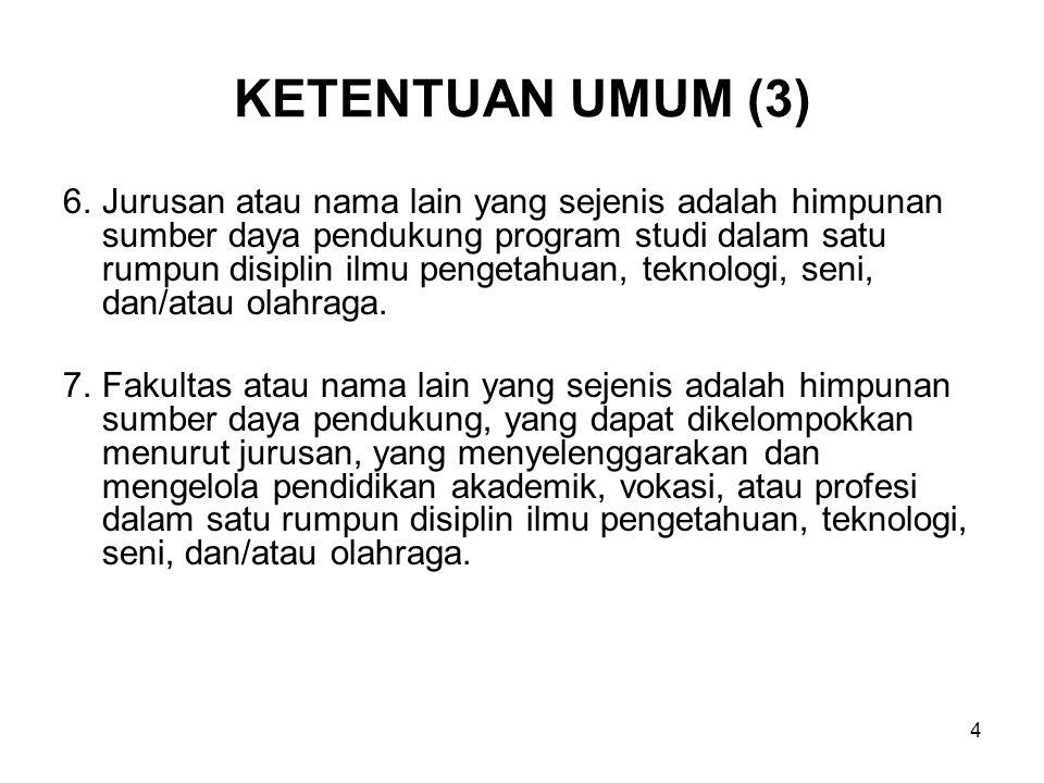 4 KETENTUAN UMUM (3) 6.Jurusan atau nama lain yang sejenis adalah himpunan sumber daya pendukung program studi dalam satu rumpun disiplin ilmu pengeta
