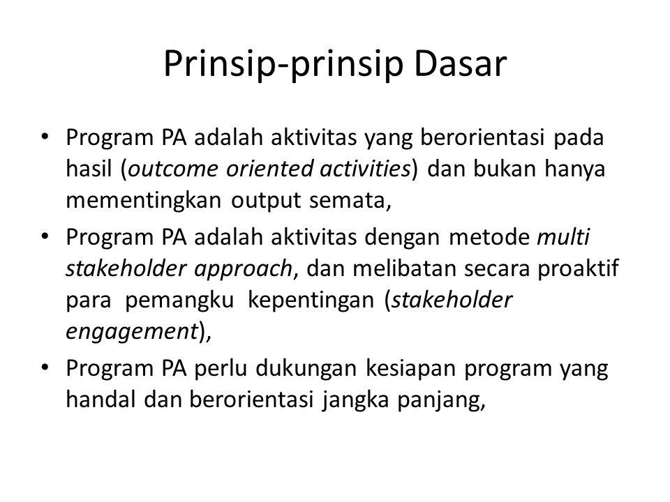 Prinsip-prinsip Dasar Program PA adalah aktivitas yang berorientasi pada hasil (outcome oriented activities) dan bukan hanya mementingkan output semat
