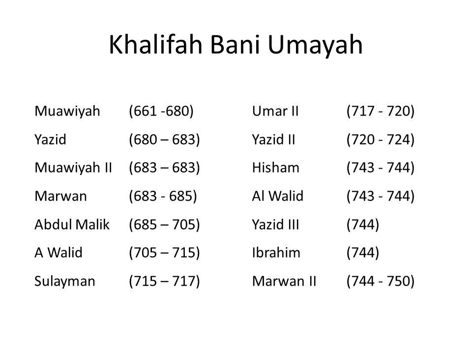 Khalifah Bani Umayah Muawiyah(661 -680) Yazid(680 – 683) Muawiyah II(683 – 683) Marwan(683 - 685) Abdul Malik(685 – 705) A Walid(705 – 715) Sulayman(715 – 717) Umar II(717 - 720) Yazid II(720 - 724) Hisham(743 - 744) Al Walid(743 - 744) Yazid III(744) Ibrahim(744) Marwan II(744 - 750)