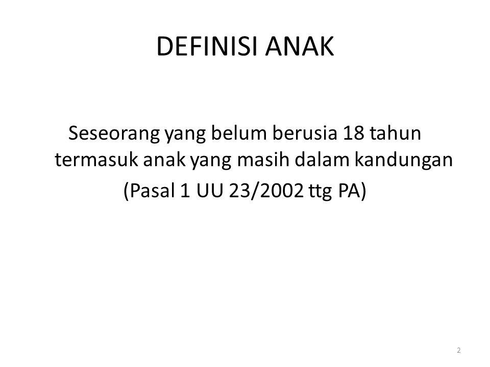 DEFINISI ANAK Seseorang yang belum berusia 18 tahun termasuk anak yang masih dalam kandungan (Pasal 1 UU 23/2002 ttg PA) 2