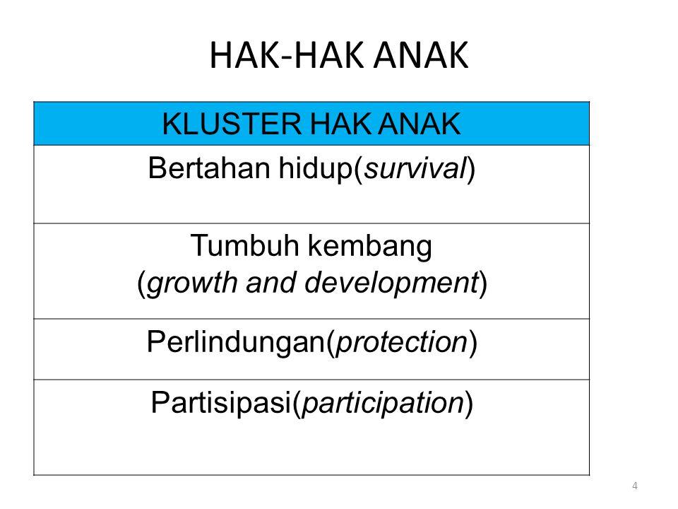 HAK-HAK ANAK KLUSTER HAK ANAK Bertahan hidup(survival) Tumbuh kembang (growth and development) Perlindungan(protection) Partisipasi(participation) 4