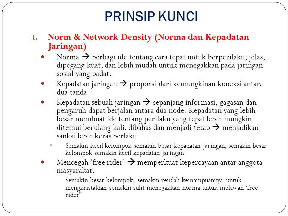 PRINSIP KUNCI 1. Norm & Network Density (Norma dan Kepadatan Jaringan) Norma  berbagi ide tentang cara tepat untuk berperilaku; jelas, dipegang kuat,