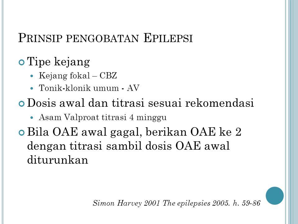 P RINSIP PENGOBATAN E PILEPSI Tipe kejang Kejang fokal – CBZ Tonik-klonik umum - AV Dosis awal dan titrasi sesuai rekomendasi Asam Valproat titrasi 4