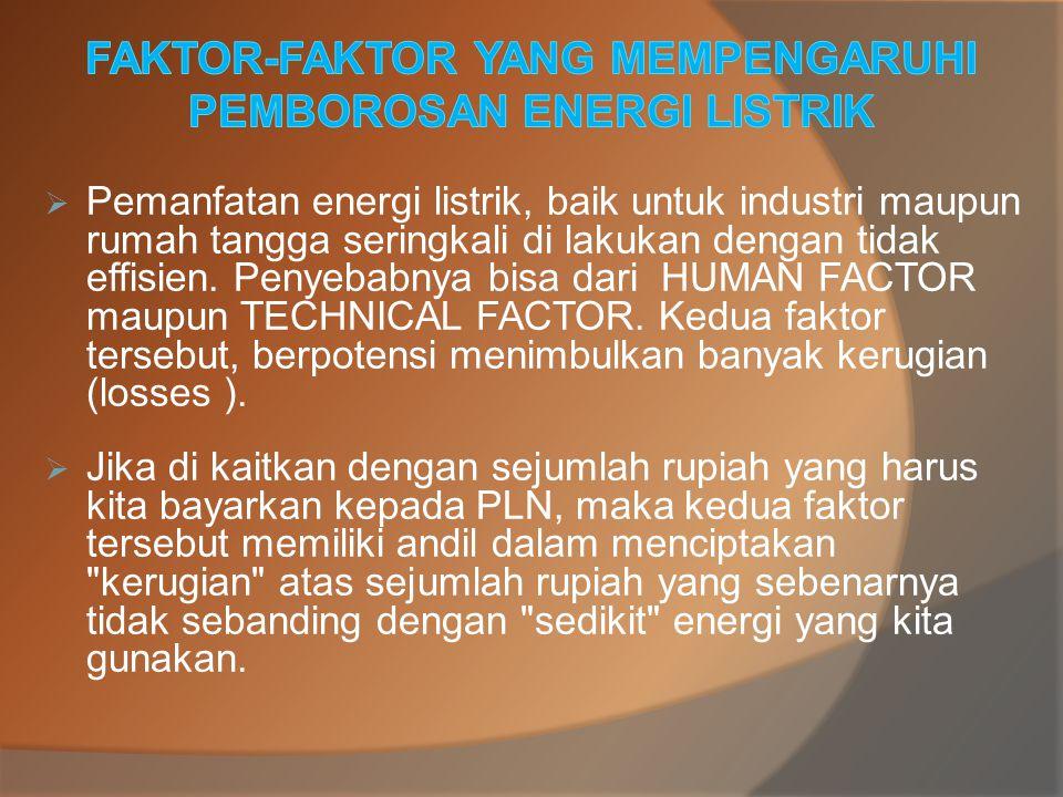  In-effisiensi dalam penggunaan energi listrik yang bersifat TECHNICAL FACTOR pada umumnya dfi sebabkan oleh POWER FACTOR (Faktor Daya) yang tidak tidak maksimal, antara lain : 1.