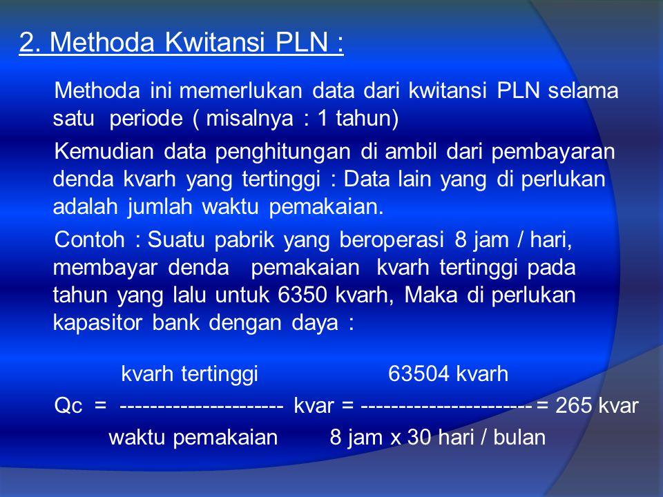 2. Methoda Kwitansi PLN : Methoda ini memerlukan data dari kwitansi PLN selama satu periode ( misalnya : 1 tahun) Kemudian data penghitungan di ambil
