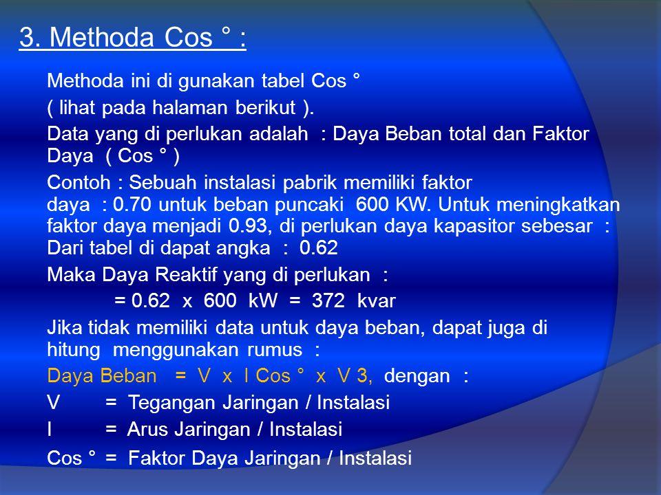 3. Methoda Cos ° : Methoda ini di gunakan tabel Cos ° ( lihat pada halaman berikut ). Data yang di perlukan adalah : Daya Beban total dan Faktor Daya