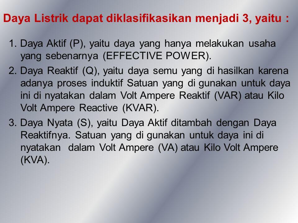 Daya Listrik dapat diklasifikasikan menjadi 3, yaitu : 1. Daya Aktif (P), yaitu daya yang hanya melakukan usaha yang sebenarnya (EFFECTIVE POWER). 2.