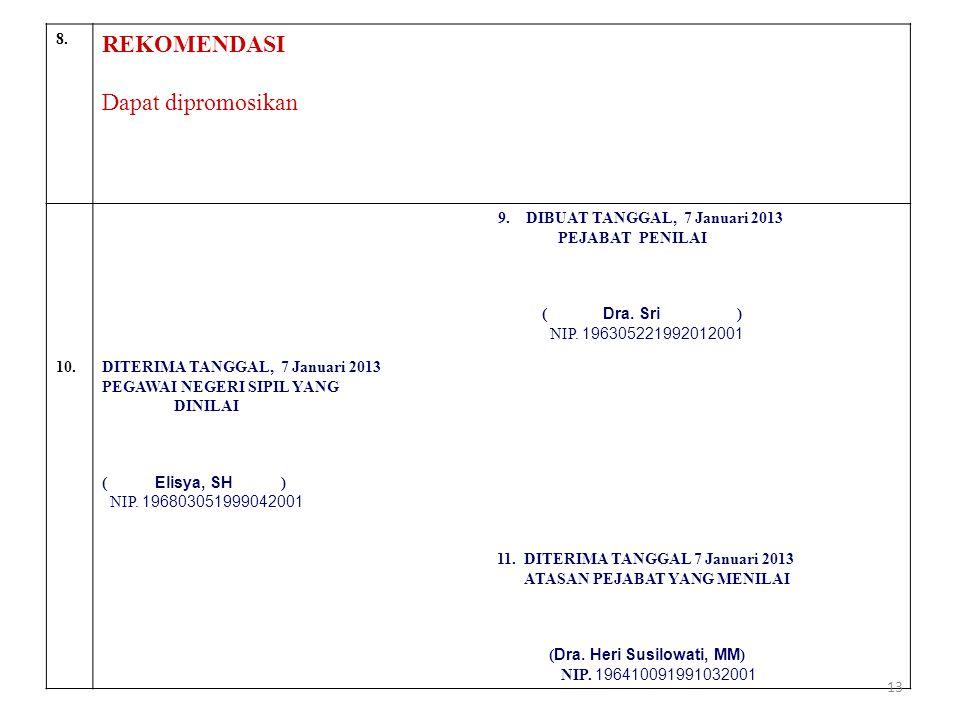 8. REKOMENDASI Dapat dipromosikan 9. DIBUAT TANGGAL, 7 Januari 2013 PEJABAT PENILAI ( Dra. Sri ) NIP. 196305221992012001 10.DITERIMA TANGGAL, 7 Januar