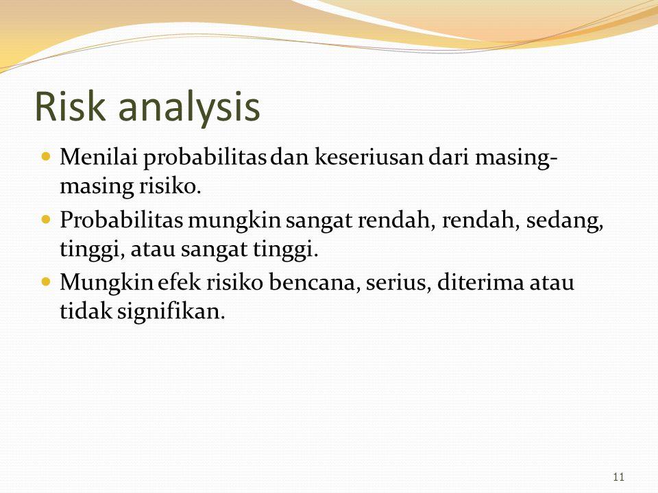 Risk analysis Menilai probabilitas dan keseriusan dari masing- masing risiko. Probabilitas mungkin sangat rendah, rendah, sedang, tinggi, atau sangat