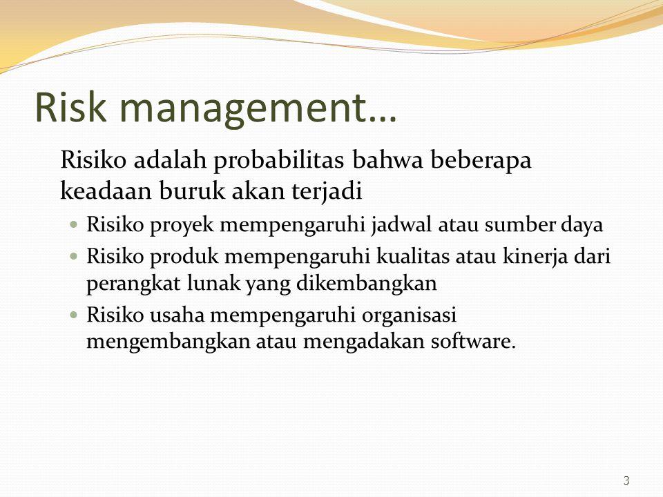 Risk management… Risiko adalah probabilitas bahwa beberapa keadaan buruk akan terjadi Risiko proyek mempengaruhi jadwal atau sumber daya Risiko produk