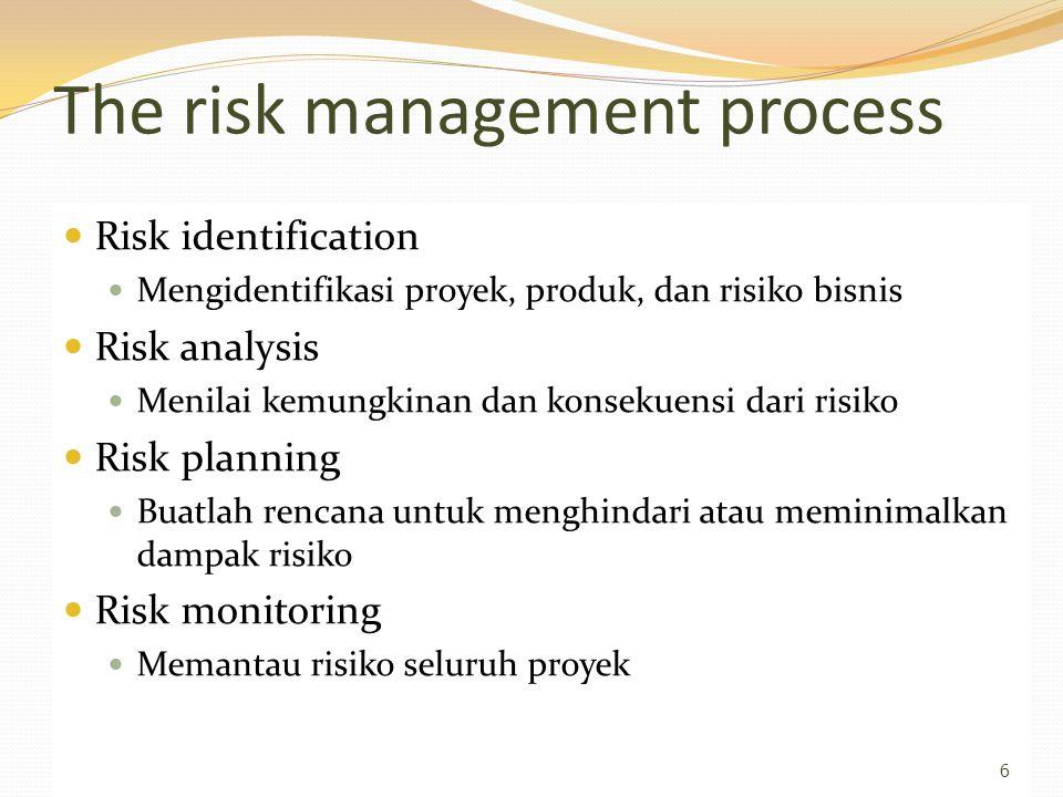 The risk management process Risk identification Mengidentifikasi proyek, produk, dan risiko bisnis Risk analysis Menilai kemungkinan dan konsekuensi dari risiko Risk planning Buatlah rencana untuk menghindari atau meminimalkan dampak risiko Risk monitoring Memantau risiko seluruh proyek 6
