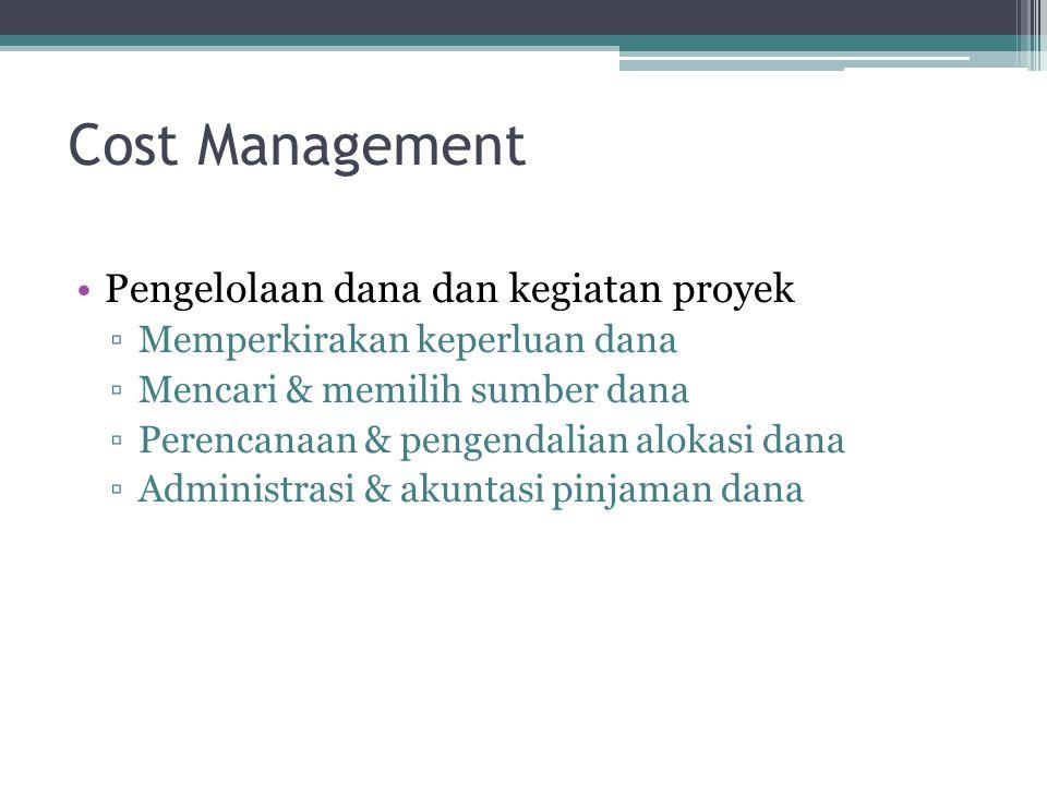 Time Management Waktu dan jadwal menrupakan salah satu sasaran utama proyek Pengelolaan waktu meliputi perencanaan, penyusunan, dan pengendalian jadwa