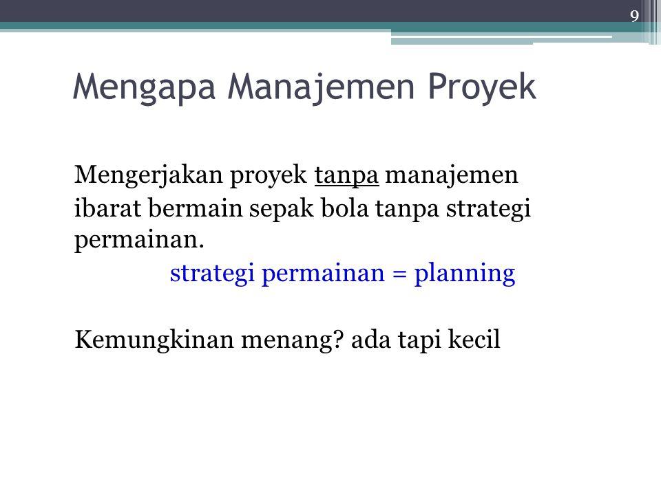 Mengapa Proyek? Proyek digunakan untuk menghandle tugas- tugas non-rutin. Tugas-tugas yang tidak bisa / tidak masuk dalam pekerjaan rutin manajemen op