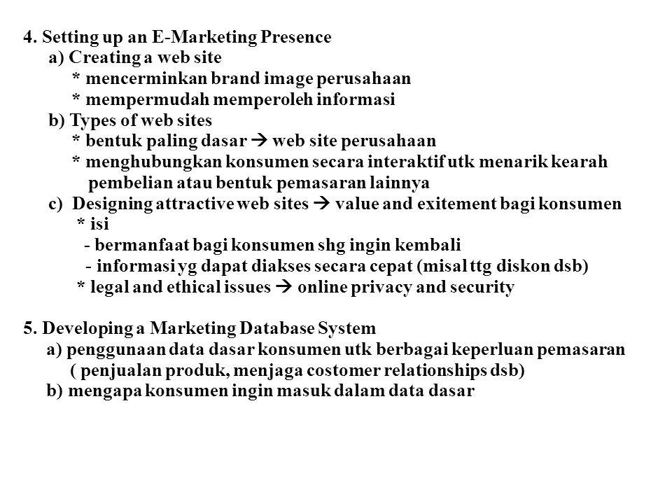 4. Setting up an E-Marketing Presence a) Creating a web site * mencerminkan brand image perusahaan * mempermudah memperoleh informasi b) Types of web