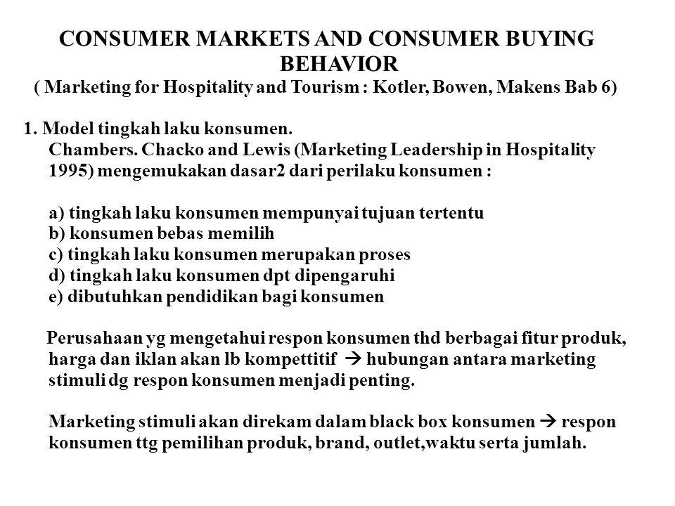 CONSUMER MARKETS AND CONSUMER BUYING BEHAVIOR ( Marketing for Hospitality and Tourism : Kotler, Bowen, Makens Bab 6) 1. Model tingkah laku konsumen. C