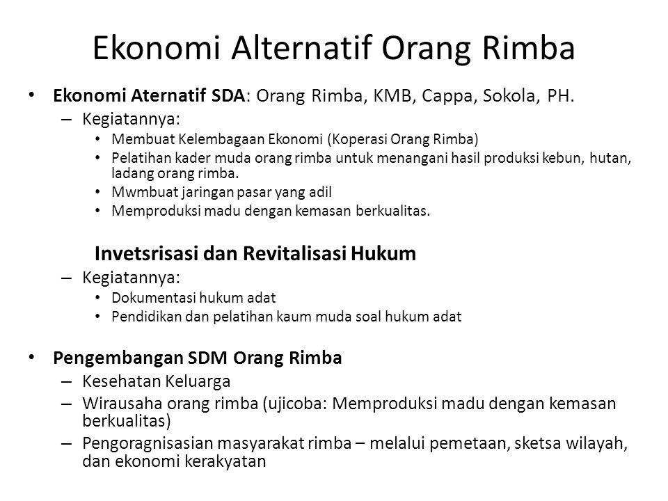 Ekonomi Alternatif Orang Rimba Ekonomi Aternatif SDA: Orang Rimba, KMB, Cappa, Sokola, PH.