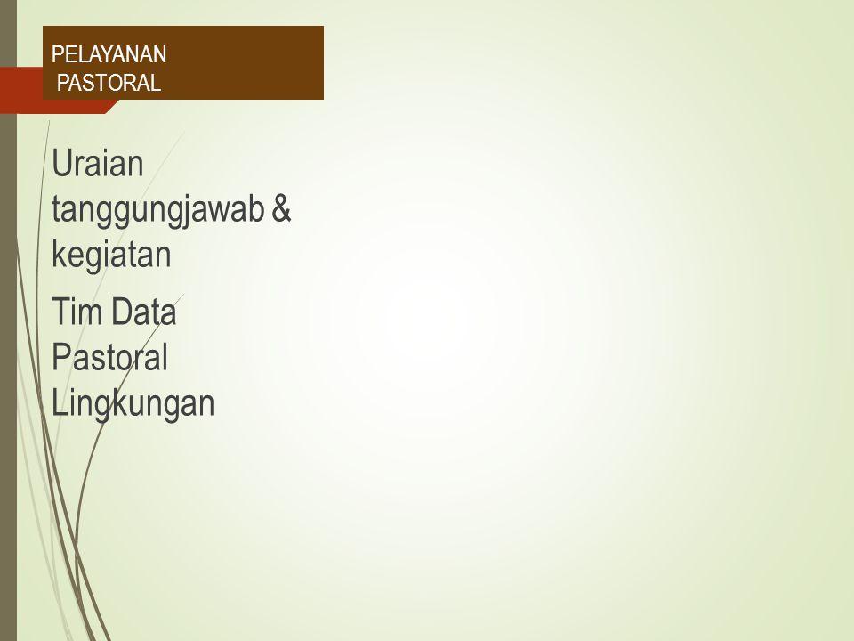 PELAYANAN PASTORAL Uraian tanggungjawab & kegiatan Tim Data Pastoral Lingkungan