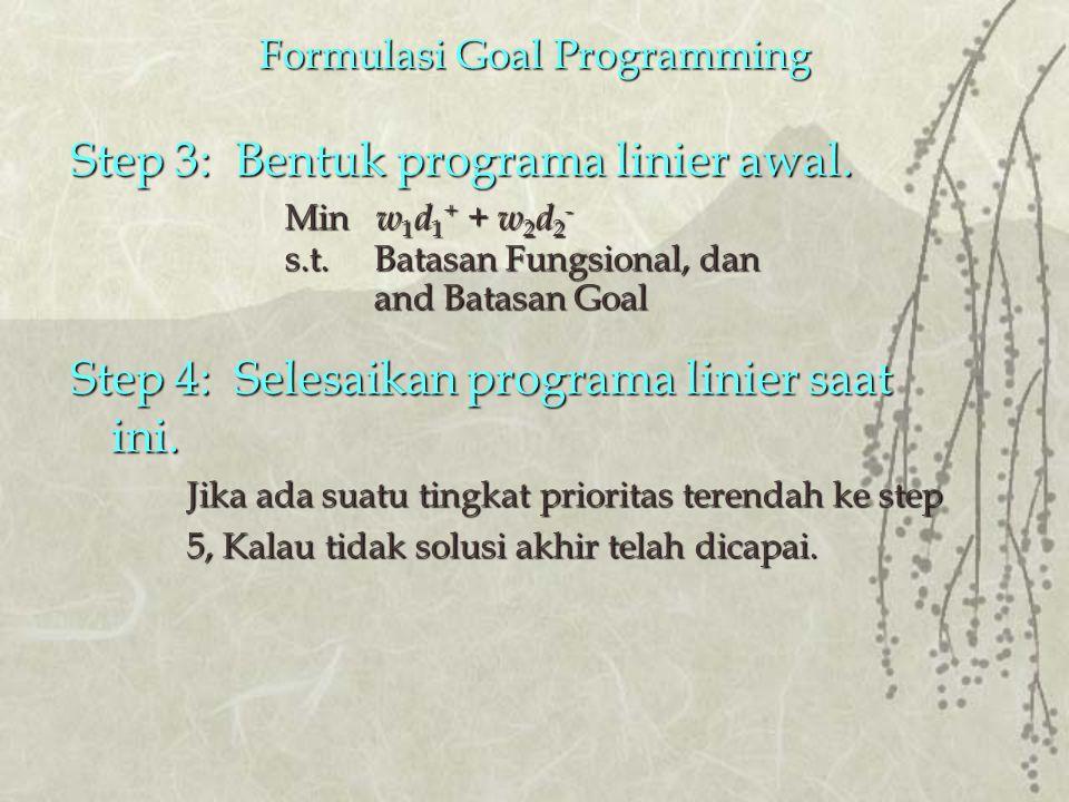 Formulasi Goal Programming Step 3: Bentuk programa linier awal.