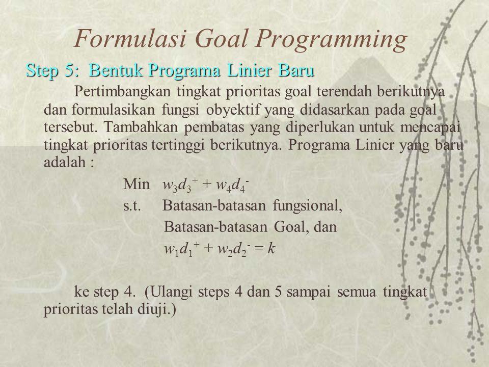 Formulasi Goal Programming Step 5: Bentuk Programa Linier Baru Step 5: Bentuk Programa Linier Baru Pertimbangkan tingkat prioritas goal terendah berikutnya dan formulasikan fungsi obyektif yang didasarkan pada goal tersebut.