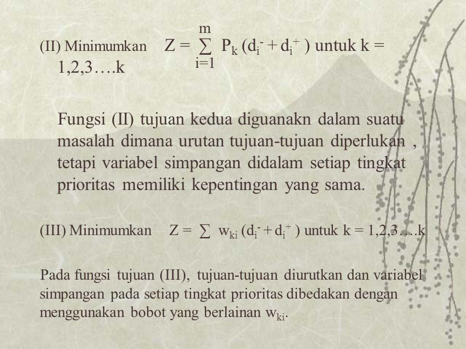 (II) Minimumkan Z = ∑ P k (d i - + d i + ) untuk k = 1,2,3….k Fungsi (II) tujuan kedua diguanakn dalam suatu masalah dimana urutan tujuan-tujuan diperlukan, tetapi variabel simpangan didalam setiap tingkat prioritas memiliki kepentingan yang sama.