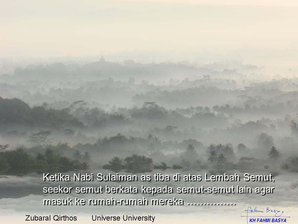 Ketika Nabi Sulaiman as tiba di atas Lembah Semut, seekor semut berkata kepada semut-semut lain agar masuk ke rumah-rumah mereka ……………