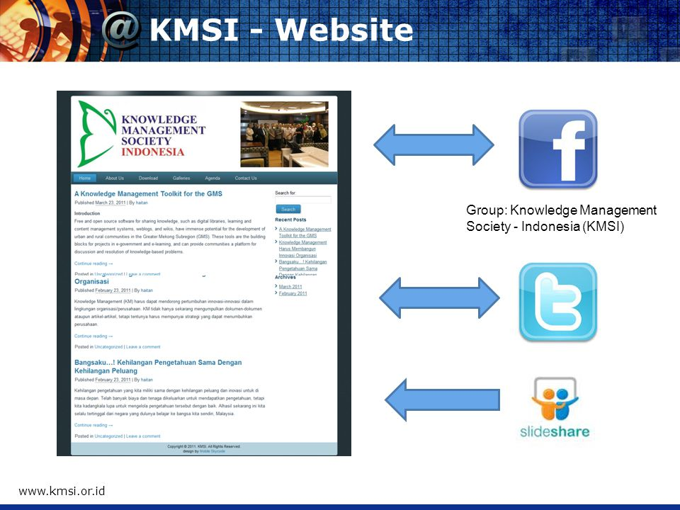 KMSI - Website   Group: Knowledge Management Society - Indonesia (KMSI)