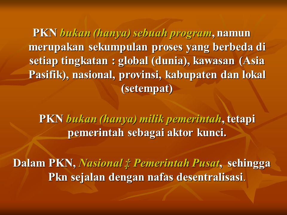 PKN bukan (hanya) sebuah program, namun merupakan sekumpulan proses yang berbeda di setiap tingkatan : global (dunia), kawasan (Asia Pasifik), nasiona