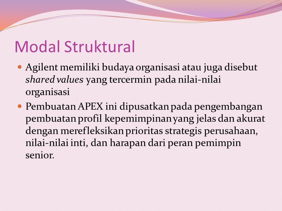 Modal Struktural Agilent memiliki budaya organisasi atau juga disebut shared values yang tercermin pada nilai-nilai organisasi Pembuatan APEX ini dipu