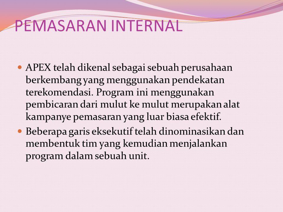 PEMASARAN INTERNAL APEX telah dikenal sebagai sebuah perusahaan berkembang yang menggunakan pendekatan terekomendasi. Program ini menggunakan pembicar
