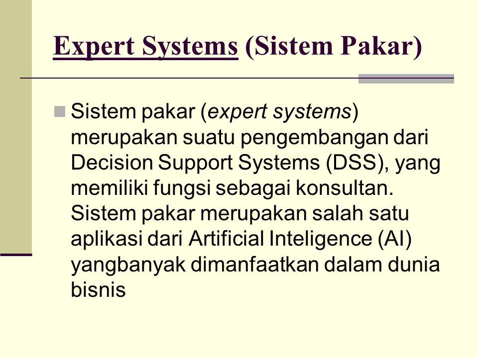 Expert Systems (Sistem Pakar) Sistem pakar (expert systems) merupakan suatu pengembangan dari Decision Support Systems (DSS), yang memiliki fungsi sebagai konsultan.