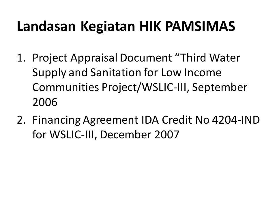 Pelaksanaan Kegiatan Terdiri dari tahap pra pelaksanaan dan pelaksanaan Pelaksanaan kegiatan (dilakukan oleh Kab/Kota penerima HIK pada 2013) mencakup langkah-langkah sbb: 1.Implementasi kegiatan SKPD berdasarkan jadwal dan target kinerja 2.Proses penyaluran dana BLM dari APBN dan APBD 3.Persiapan dan penyusunan RKM-HIK 4.Evaluasi dan persetujuan RKM-HIK oleh Tim Evaluasi HIK (Tim Teknis HIK) dan disahkan oleh Ketua TKK 5.Penandatanganan Surat Perjanjian Pemberian Bantuan (SPPB) 6.Pelaksanaan kegiatan HIK oleh Satlak 7.Serah Kelola Aset 8.Pelaporan oleh LKM disupervisi oleh Tim Teknis HIK