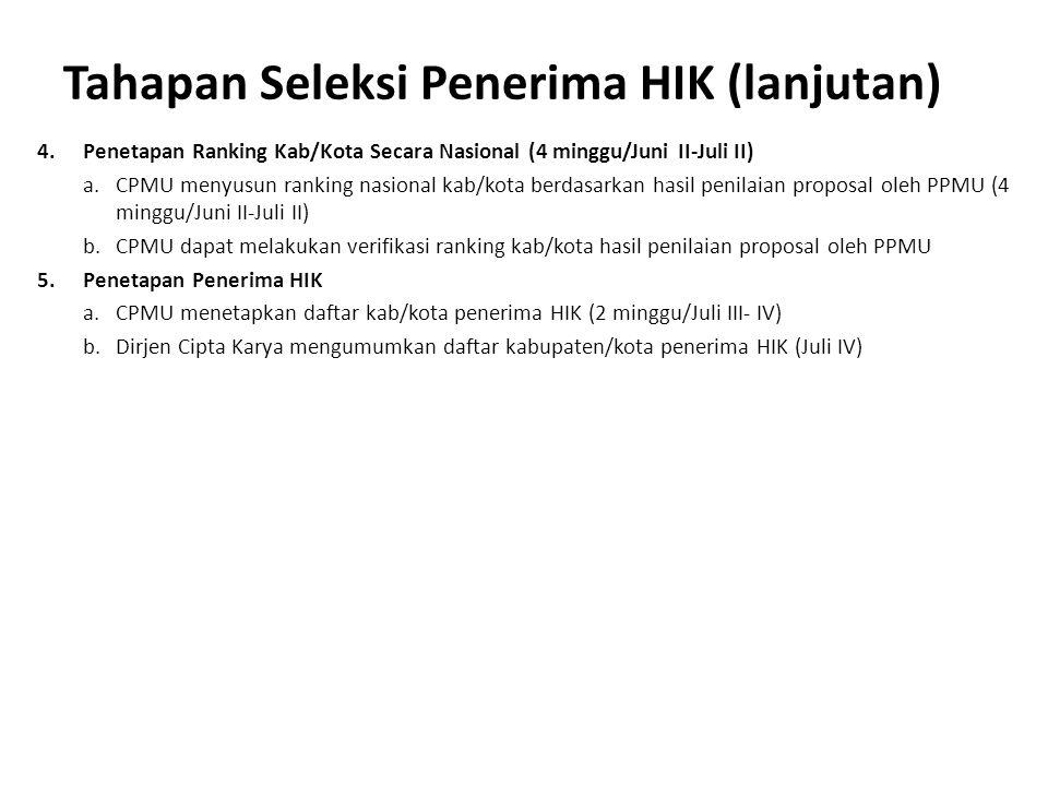 Tahapan Seleksi Penerima HIK (lanjutan) 4.Penetapan Ranking Kab/Kota Secara Nasional (4 minggu/Juni II-Juli II) a.CPMU menyusun ranking nasional kab/k