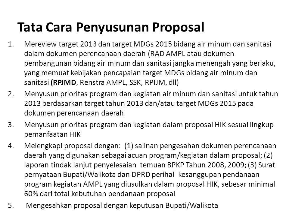 Tata Cara Penyusunan Proposal 1.Mereview target 2013 dan target MDGs 2015 bidang air minum dan sanitasi dalam dokumen perencanaan daerah (RAD AMPL ata
