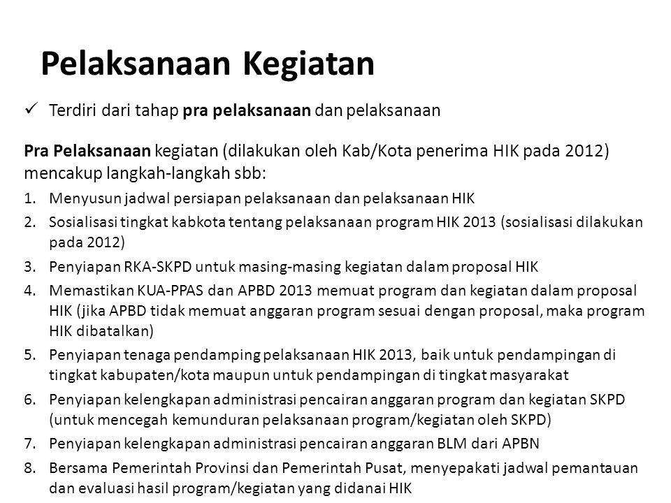 Pelaksanaan Kegiatan Terdiri dari tahap pra pelaksanaan dan pelaksanaan Pra Pelaksanaan kegiatan (dilakukan oleh Kab/Kota penerima HIK pada 2012) menc