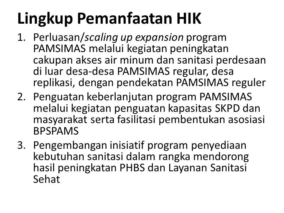 Tahapan Seleksi Penerima HIK 1.Penetapan Daftar Kab/Kota yang Lulus Pra Qualifikasi (PQ) a.CPMU menyusun long list kab/kota yang lulus Pra Qualifikasi berdasarkan kriteria yang menggunakan data SIM (2 minggu/Feb I-II) b.CPMU menyampaikan kepada PPMU perihal Long List Kab/Kota yang lulus PQ sekaligus sosialisasi Pedoman HIK (2 minggu/Feb II-III) 2.Permintaan Proposal HIK a.PPMU menyurati DPMU Kab/Kota yang termasuk dalam Long List perihal permintaan pengajuan proposal HIK (1 minggu/Feb IV) Alokasi waktu penyiapan proposal 8 Minggu (Feb IV s.d April III ) b.Kab/Kota melalui DPMU menyampaikan proposal HIK kepada PPMU (Paling lambat April III) 3.Penilaian Proposal HIK (8 Minggu/April I s.d Mei IV) a.PPMU menyeleksi kab/kota berdasarkan kriteria PQ yang menggunakan data kab/kota (RAD AMPL/dokumen kebijakan pencapaian target MDGs bidang air minum dan sanitasi dan laporan penyelesaian temuan BPKP 2008 dan 2009).