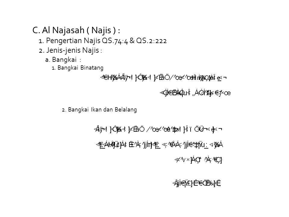 C. Al Najasah ( Najis ) : 1. Pengertian Najis QS.74:4 & QS.2:222 2. Jenis-jenis Najis : a. Bangkai : 1. Bangkai Binatang 2. Bangkai Ikan dan Belalang