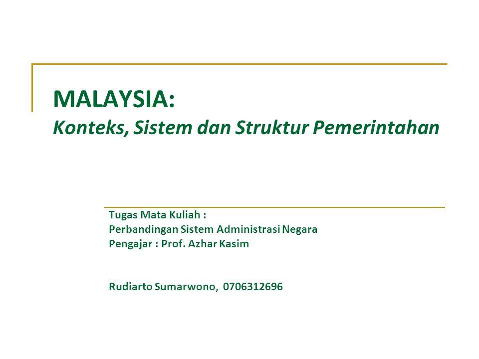 MALAYSIA: Konteks, Sistem dan Struktur Pemerintahan Tugas Mata Kuliah : Perbandingan Sistem Administrasi Negara Pengajar : Prof. Azhar Kasim Rudiarto