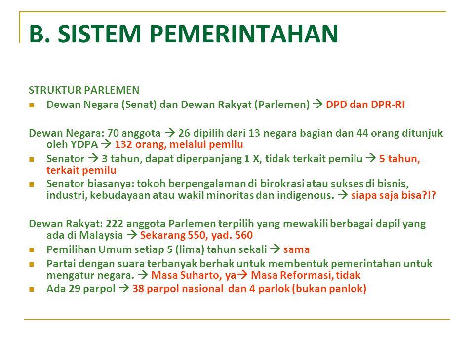 B. SISTEM PEMERINTAHAN STRUKTUR PARLEMEN Dewan Negara (Senat) dan Dewan Rakyat (Parlemen)  DPD dan DPR-RI Dewan Negara: 70 anggota  26 dipilih dari