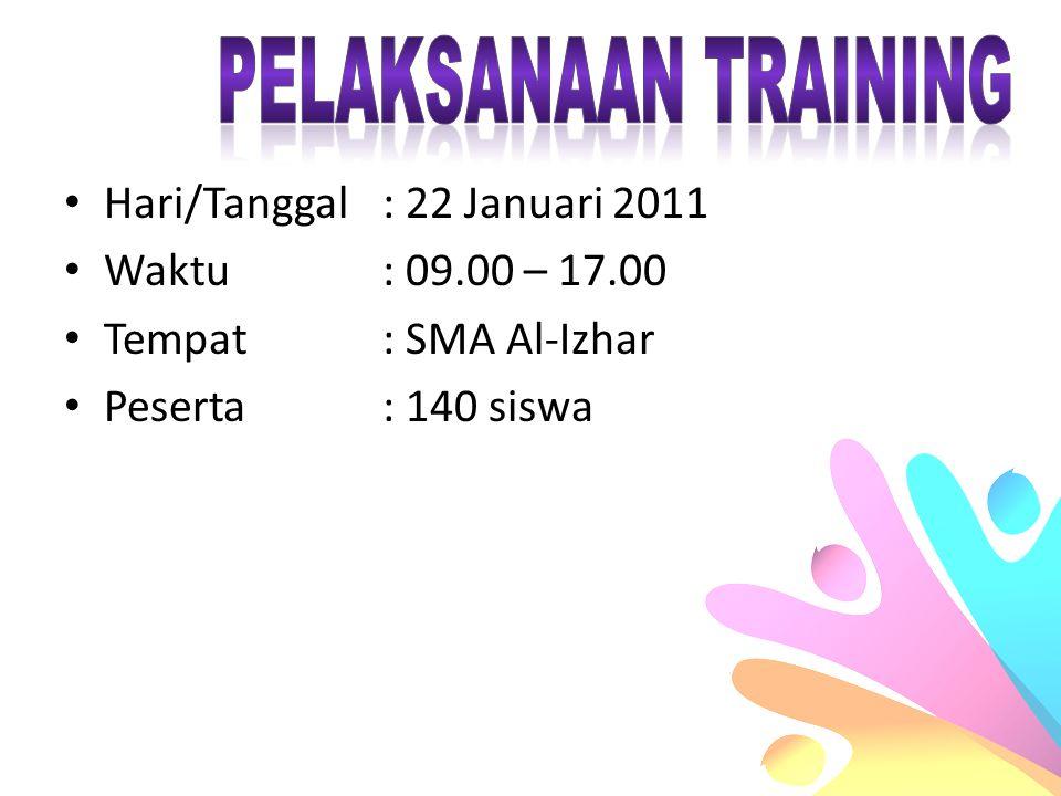 Hari/Tanggal: 22 Januari 2011 Waktu: 09.00 – 17.00 Tempat: SMA Al-Izhar Peserta: 140 siswa