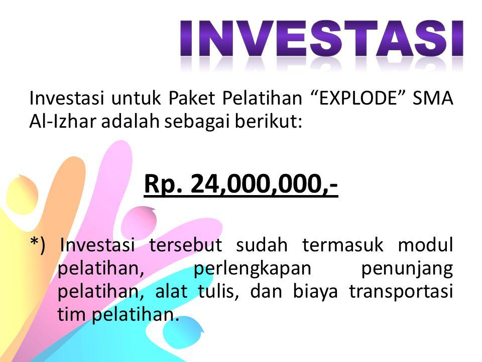 """Investasi untuk Paket Pelatihan """"EXPLODE"""" SMA Al-Izhar adalah sebagai berikut: Rp. 24,000,000,- *) Investasi tersebut sudah termasuk modul pelatihan,"""