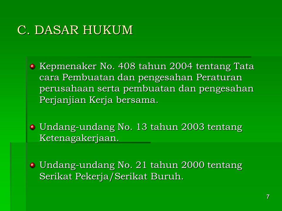 28 Contoh penulisan : Disahkan di: Jakarta Diputuskan di : Jakarta Pada tanggal: 23 09 2006 Pada tanggal : 23 07 2006 Kepala Dinas Tenaga Kerja Direktur PT.