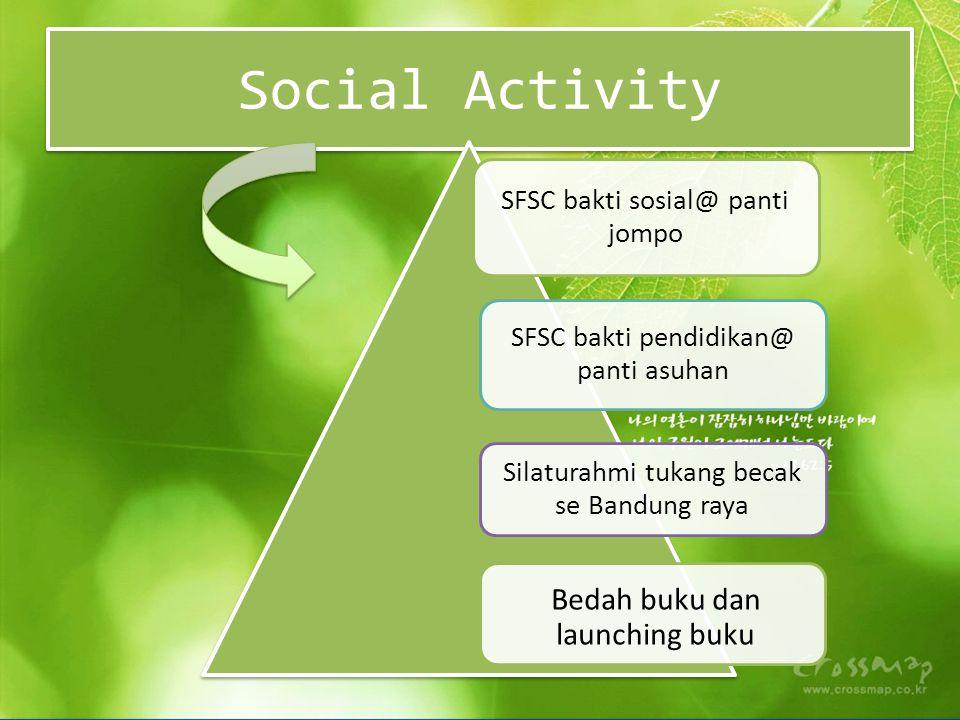 SFSC bakti sosial@ panti jompo SFSC bakti pendidikan@ panti asuhan Silaturahmi tukang becak se Bandung raya Bedah buku dan launching buku